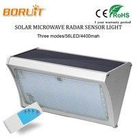BORUIT 1000LM Bright Solar Light 56 LED Microwave Radar Motion Sensor Power Lamp For Home Garden