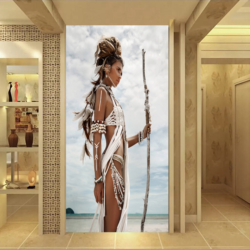 Native American Indian Girl Painting Huge Size Portrait Pictures Wall Art Canvas Print Posters For Living Room Unframed