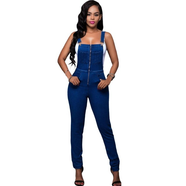 2017 Trendy casual female denim jumpsuit jeans acid wash overalls for women summer long jumpsuits and rompers sexy clothes 64173