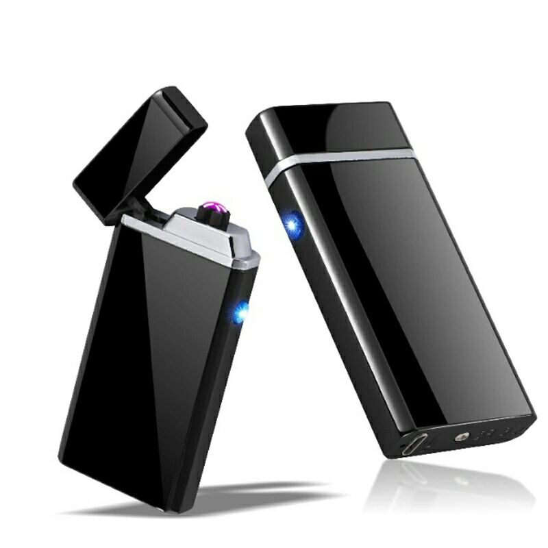 New Double Arc Lighter Windproof Electronic USB Recharge Lighter Cigarette Smoking Electric Lighter