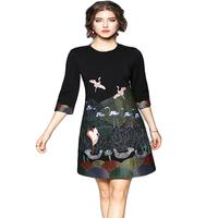 2018 Spring Winter Dress Women Elegant Jacquard Birds Embroidery Short Dresses Black 3 4 Sleeve Work