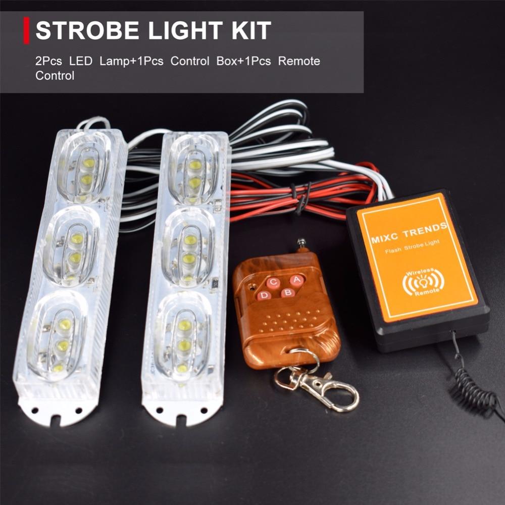Wireless Remote Control Emergency Strobe Warning Lights 2X9 LEDs 18W Red Blue Flashing Police Light Car DRL Driving Fog lights