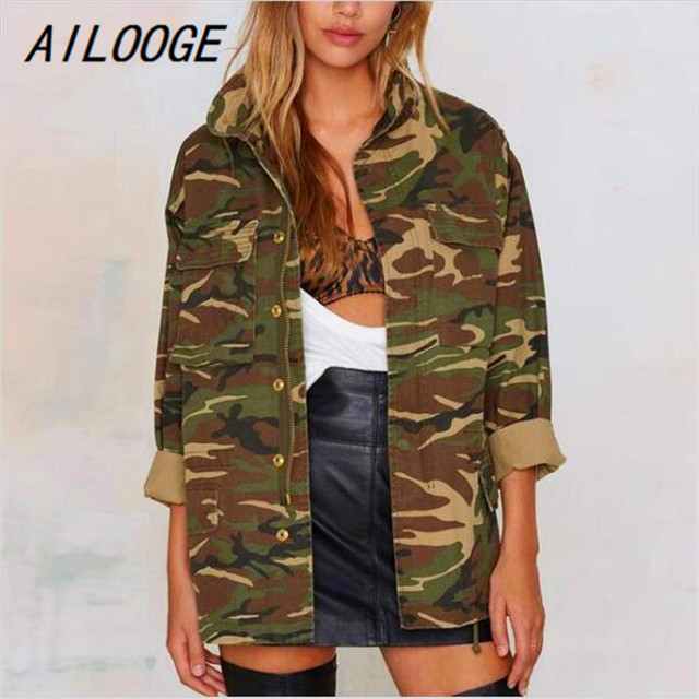a0646b89c10c7 AILOOGE Camouflage Jacket Women Army Coat With Multi Pockets Military Style  2017 New Fashion Ladies Camo Jackets Free Shipping