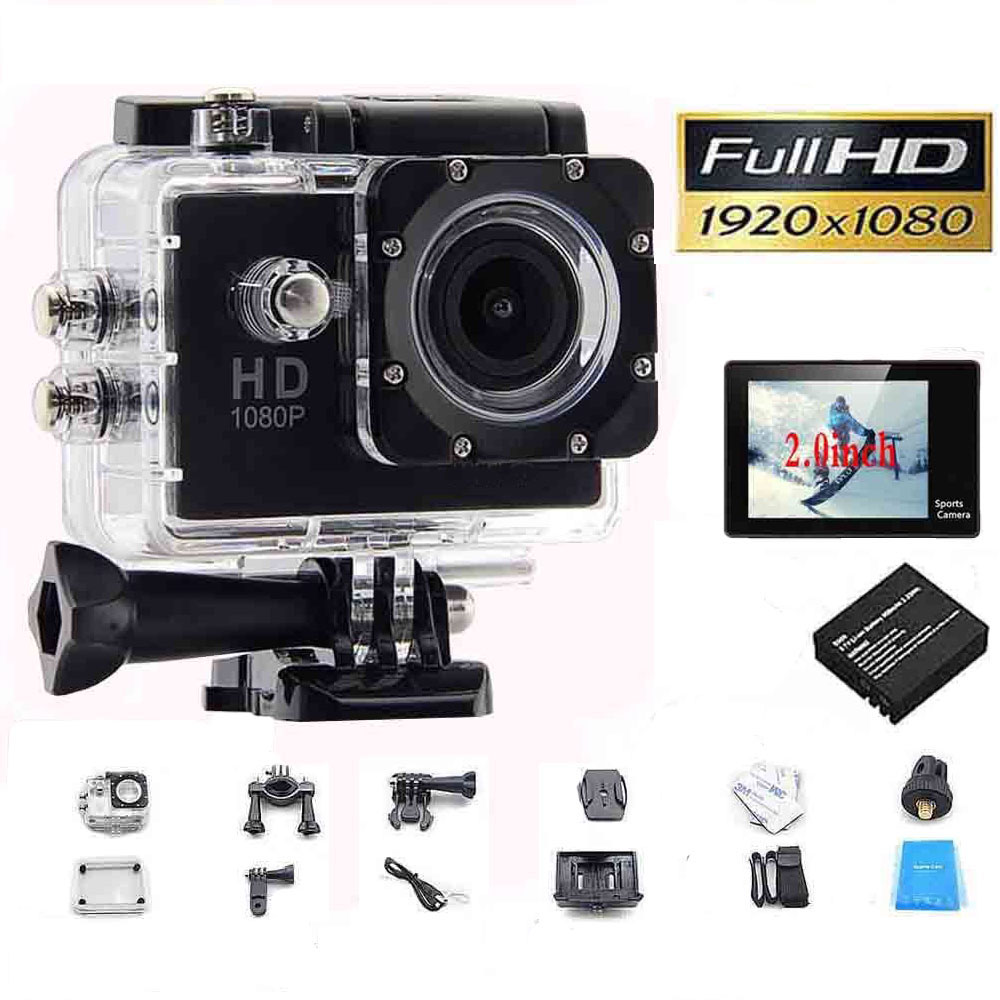 Full HD 1080P Action Sport Camcorder Mini Camera Outdoor Waterproof gopro style go pro 2 Screen Cam Recorder DV Water resistant
