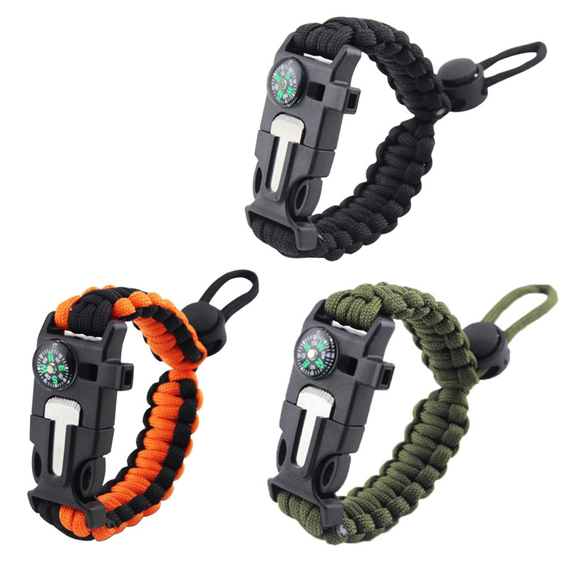 Paracord Bracelet Survival Outdoor Camping Paracord Parachute Cord Emergency Survival Bracelet Rope with Compass Whistle Buckle survival whistle with compass thermometer and magnifier oem