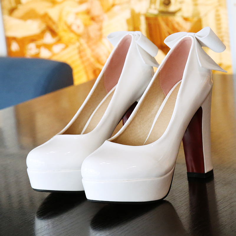 ФОТО Size 43 New Fashion Shoes Woman Spring&Autumn Bowknot Pu Leather Pump Shoes Women Square High Round Toe Party Zapatos Mujer