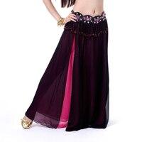 Simple Layer Dancewear Double Colors Women Belly Dance Clothing Side Split Full Circle Long Skirt Chiffon
