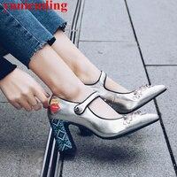 Funky Высокие каблуки металлический декор Для женщин Насосы цветочным узором Обувь острый носок Ретро стильная обувь Sapato Feminino вечерние сваде