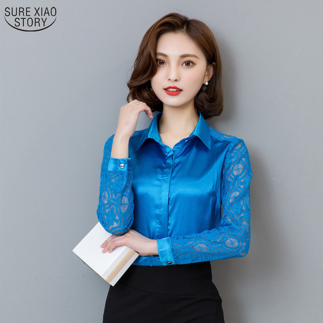 1b47b82cfe9b18 Hot Sale New Arrival 2019 Spring Fashion Women Tops Female Lace Silk Blouse  Long Sleeve Casual