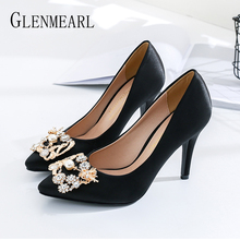 Pumps Women Shoes High Heels Female Silk  Wedding Pointed Toe Classic String Bead Spring Autumn Plus Size 2019