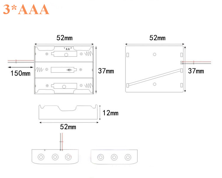 xAAA 4xAAA 1.5V Plastic Black Spring Battery Storage Case Box Battery Holder Plastic Container