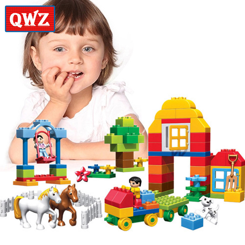QWZ 90pcs Happy Farm Animals Building Blocks Sets Large particles Animal Model Bricks Compatible with legoeINGly Duplo Baseplate qwz 39 65pcs farm animals paradise model car large particles building blocks large size diy bricks toys compatible with duplo