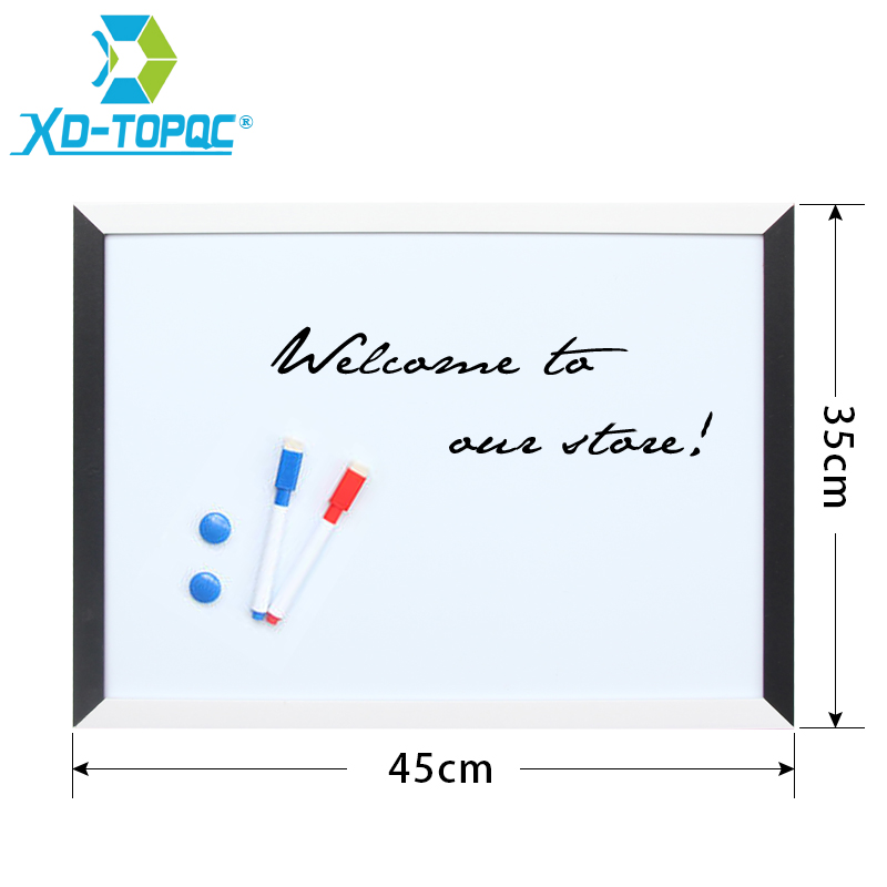 XINDI 35*45cm Whiteboard Magnetic Drawing Board MDF Black & White Wooden Frame Boards Decorative White Board For Business WB09 excellent quality simple modern stools fashion fabric stool home sofa ottomans solid wood fine workmanship chair furniture