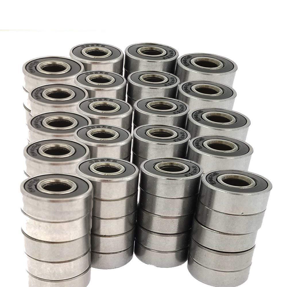 100pcs 608-2RS Skateboard Bearing,Rolling Bearings Black /Red /Blue, 8x22x7mm
