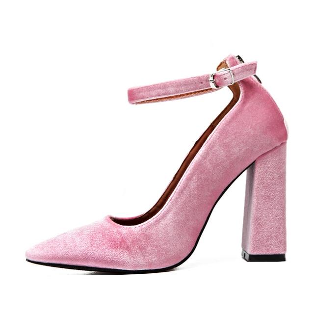 New Arrival Fashion Ankle Strap Velvet Pumps Block Chunky High Heel Wedding Bridal Shoes Women Dress Princess Shoes 2017 Spring
