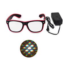 2pcs Packs Flaring Bar Party Fluorescent Dance DJ Bright  EL Wire LED Glasses Party Supplies,3D Rave Prisms Diffraction Glasses