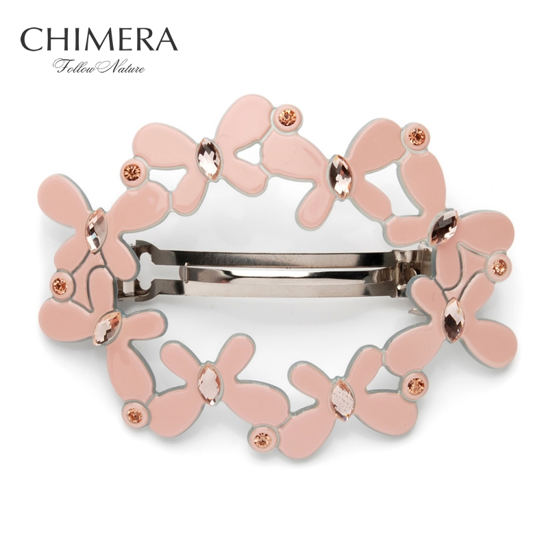 Butterfly Hair Clips for Women Crystal Hairpins Pink Acetate French Barrettes Elegant Ponytail Holder Hair Accessories Ornaments