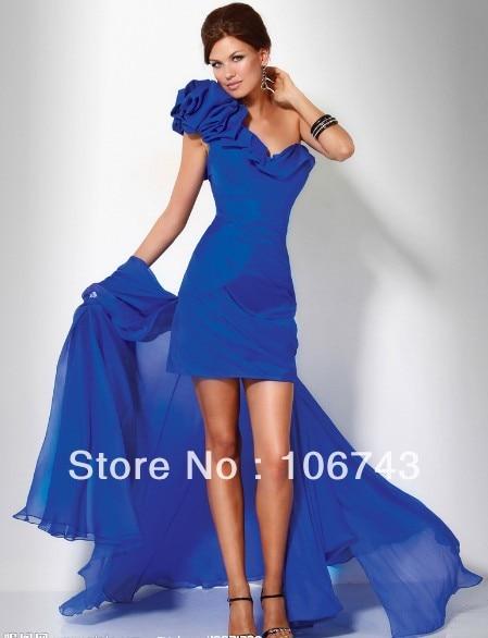 Livraison gratuite 2016 nouveau design robe Formelle Pageant sexy courte une épaule Élégant bleu royal robe de soirée partie de bal Robes