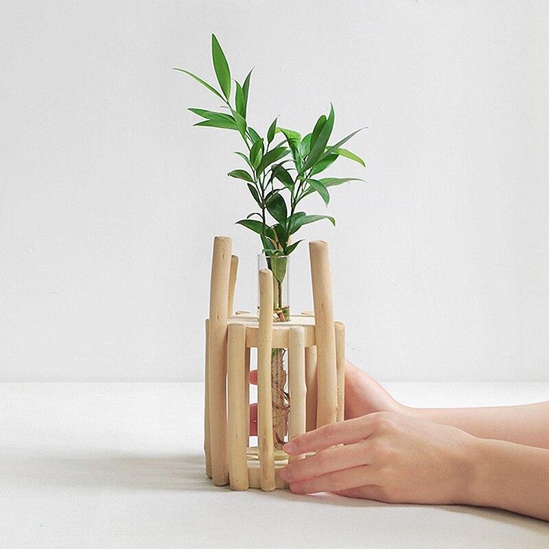 1 Set Glass Vase Tube Shape Clear Flower Bottle With