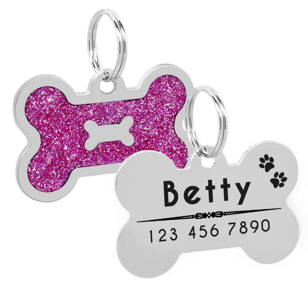 Glitter Personalized Dog ID Tag Customized Bone Shape Name Tag Plate Pet Dog Accessories Collar Decoration Pink Red 1