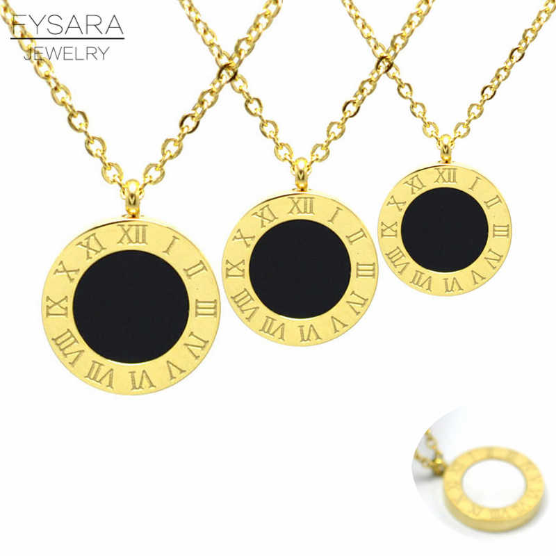 FYSARA Roman Numerals Two Side Circle Round Pendant Necklace For Women Shell Jewelry Stainless Steel Love Short Necklaces Luxury