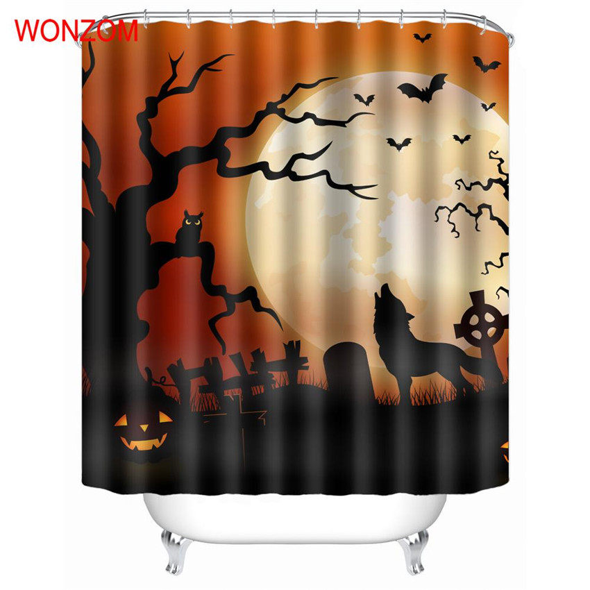 WONZOM Skeleton Polyester Fabric Shower Curtain Skull Bathroom Decor Creepy Waterproof Cortina De Bano With 12 Hooks Gift 2017 In Curtains From Home