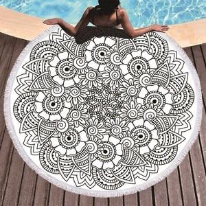 Image 3 - พิมพ์ดอกไม้ Mandala ขนาดใหญ่ชายหาดผ้าขนหนูไมโครไฟเบอร์ผ้าเช็ดตัวชายหาดผู้ใหญ่เรขาคณิตผ้าขนหนูผ้าห่มโยคะ Toallas