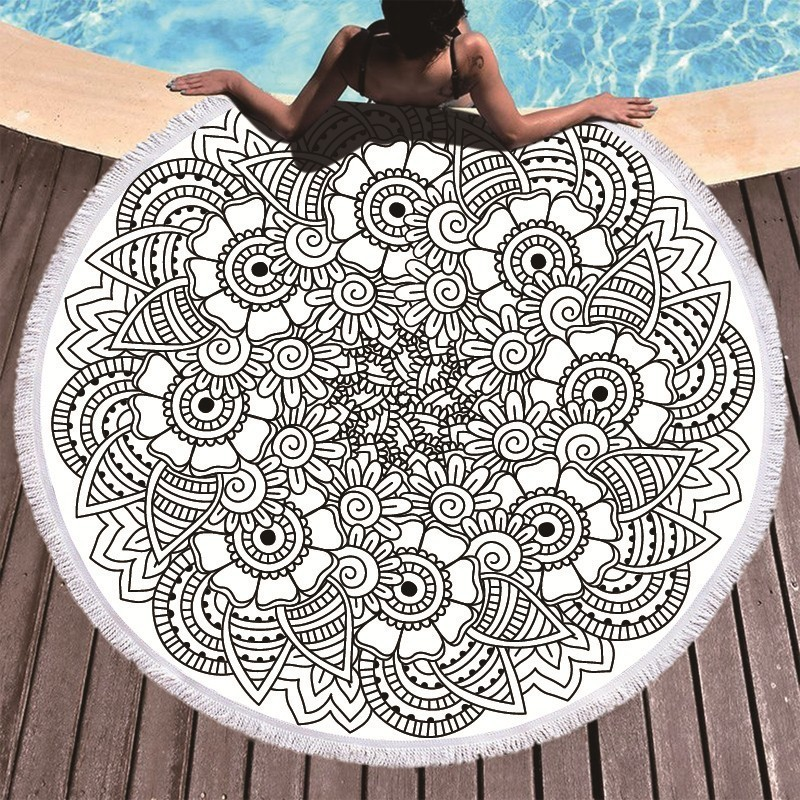 Image 3 - Printed Flower Mandala Large Beach Towels Microfiber Towel Beach Adults Black Geometric Towels Bathroom Blanket Yoga Mat Toallas