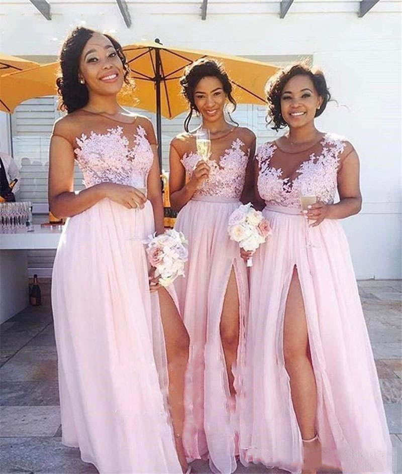 Illusion Long Chiffon Vintage Lace Cap Sleeves Split Maid of Honor wedding party Gown Pink Plus Size Country Bridesmaid Dresses