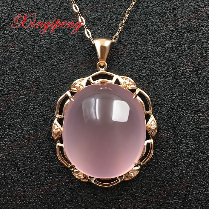 18 k rose gold with 100% natural Rose Quartz pendant pink contracted and delicate Fine jewelry With diamond