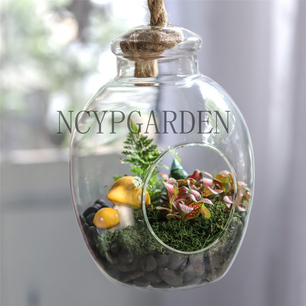 Hand Blown Glass Bottle Shaped Round Cute Miniature Micro Landscape