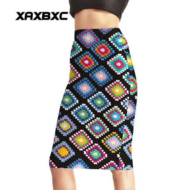 Новое прибытие 0004 Sexy Girl Для женщин Летняя радуга в клетку тартан национальные отпечатки приталенное пикантные вечерние по колено плотный юбка-карандаш