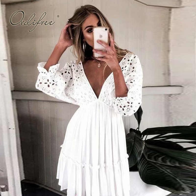 Ordifree 2019 Summer Bohomian Women Embroidery Mini Dress Half Sleeve Short  Sexy Backless Cotton White Lace b1b07043f931