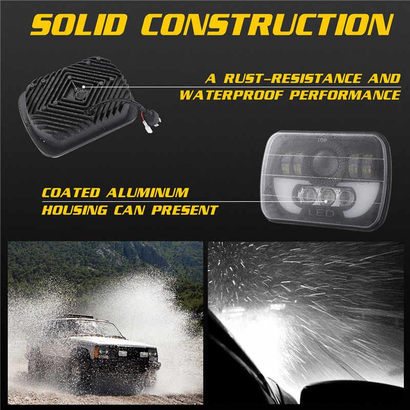 Kongyide Ô Tô H4 5X7 Inch 300W Đèn Pha 6000K Cho Jeep Cho Wrangler Xe Tải SUV hổ Phách Vuông Trang Sức Giọt 19M14
