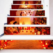 6pcs/set 18cm x 100cm Fireplace with Christmas Tree Style Stair Sticker Wall Decor LTT083(China)