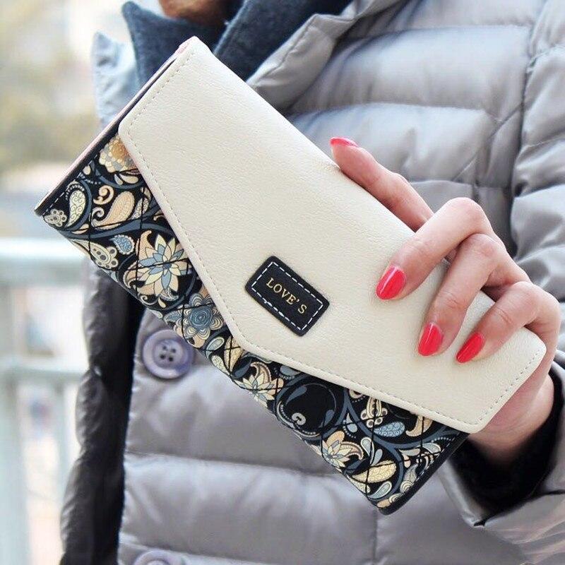dlouhý zip kůže Hot Lady peněženka Žena Žena peněženka Luxusní slavná značka Money Bag Telefon Walet Vallet