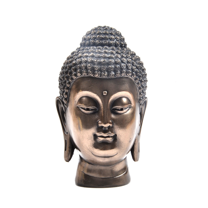 Creative Buddha Head Statue Zen Thai India Buddha Resin Figurine Sculpture Home Office Bar Desk Feng Shui Decorative Ornament
