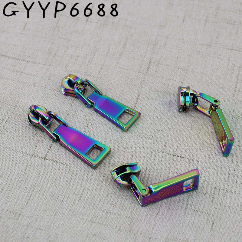 20sets 100sets 3# 5# Iridescent Rainbow Metal Nylon Head Teeth Zipper Puller Slider Metal Plating Accessory Bags,garments Fabric