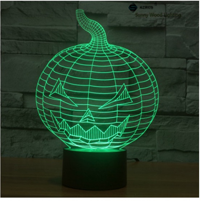 Pumpkin touch switch LED 3D lamp ,Visual Illusion 7color changing 5V USB for laptop, Halloween ,Christmas cartoon toy lamp