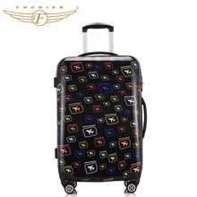 1 Piece 20 24 28 Hardside ABS PC Lightweight Travel Rolling Luggage Suitcase Air-craft Printing Universal 4 Wheels Fochier XQ005