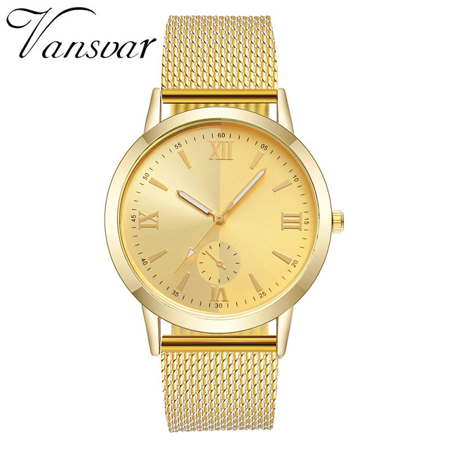 Vansvar Wristwatch relogio feminino Stainless Steel Dial  Glass Watch Woman  Leather Classic Casual Women Watches Clock 19JAN8