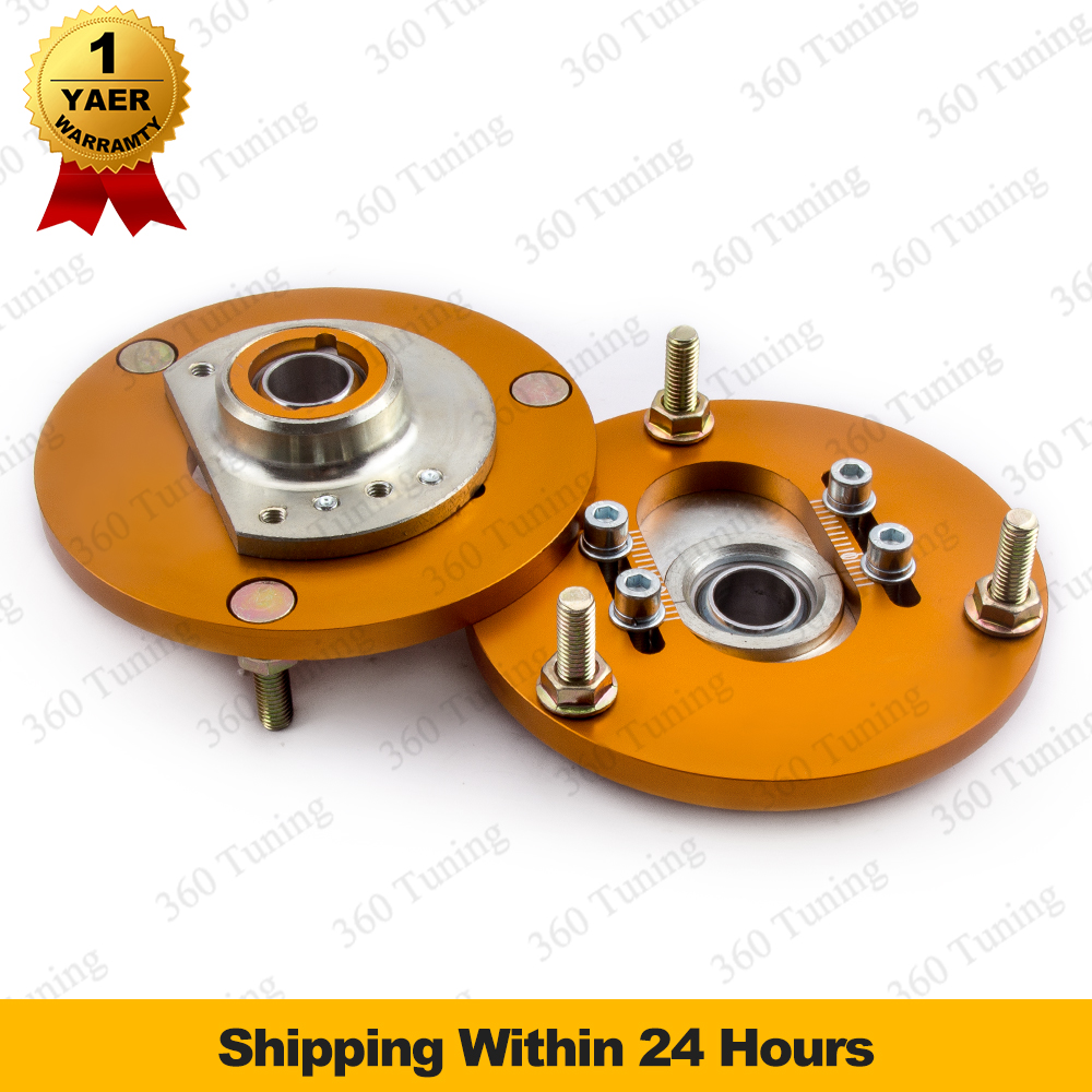 Fit BMW E46 316 320 323 325 328 M3 Coilover Top Upper Front Camber Plates 98-05 320 323 325 328 M3 Top Mount Golden Suspension for bmw 3 series e36 318 328 323 325 front coilover strut camber plate top mount green drift front domlager top upper mount