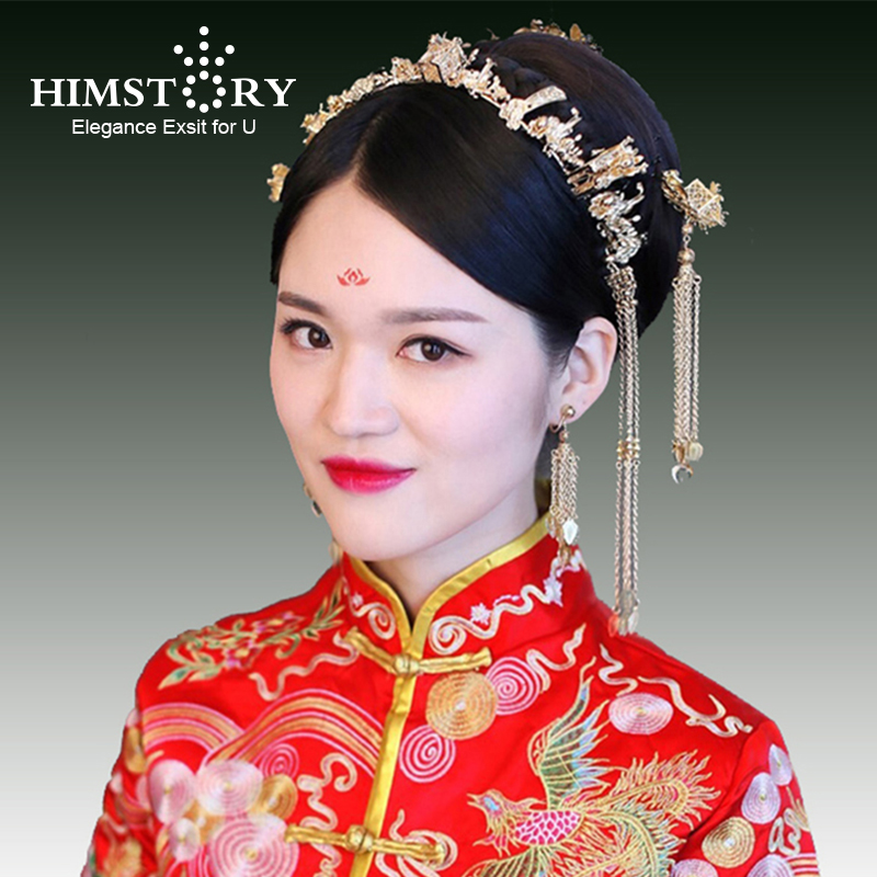 Himstory Chinese Style Vintage Gold Small House Bridal Hair Jewelry Hair Accessories Gold Leaves Long Tassel Wedding Headdress