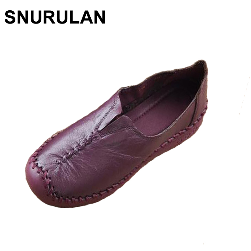 SNURULAN 2017 New Women's Handmade Shoes Genuine Leather Flat Mother Shoes Woman Loafers Soft Casual Flats Shoes Women summer women casual shoes breathable mother shoes women flat platform soft comfortable braided shoes light loafers for woman