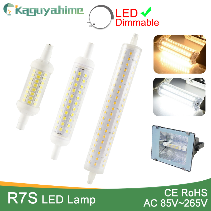 Kaguyahime R7S J78 J118 J135 AC 110V 220V Led Bulb Dimmable Corn Lamp 78mm 118mm 189mm Replace Halogen 50W Floodlight Spot Light high power dimmable 189mm led r7s light 50w cob r7s led lamp with cooling fan replace 500w halogen lamp