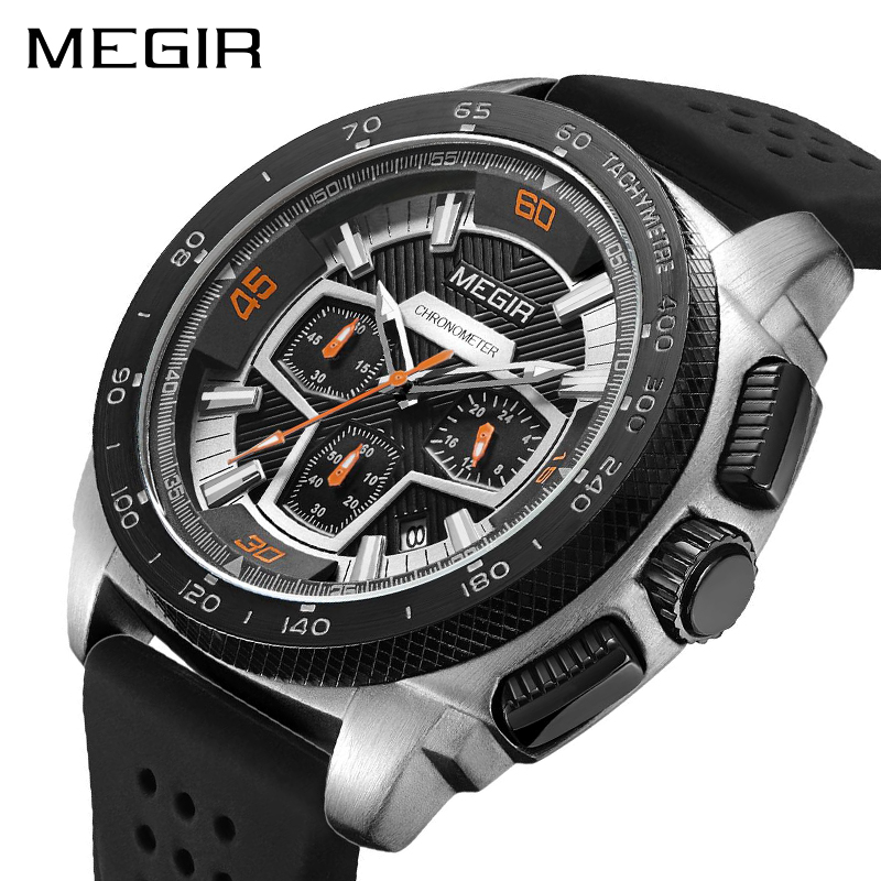 MEGIR Brand Sport Watch Men Relogio Masculino Fashion Silicone Quartz Wrist Watches Clock Men Military Army Wristwatch 2056 xfcs geneva watches men 2017 binger fashion brand quartz clock army military sport watch digital wristwatches relogio masculino