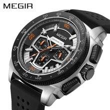 MEGIR ブランドスポーツ時計男性レロジオ Masculino ファッションシリコーンクォーツ腕時計時計男性腕時計 2056 xfcs