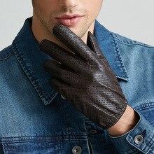 Hakiki deri eldiven erkekler kış dokunmatik ekran koyun derisi eldiven nefes örgü sürüş araba kısa ince erkek eldiven M9003
