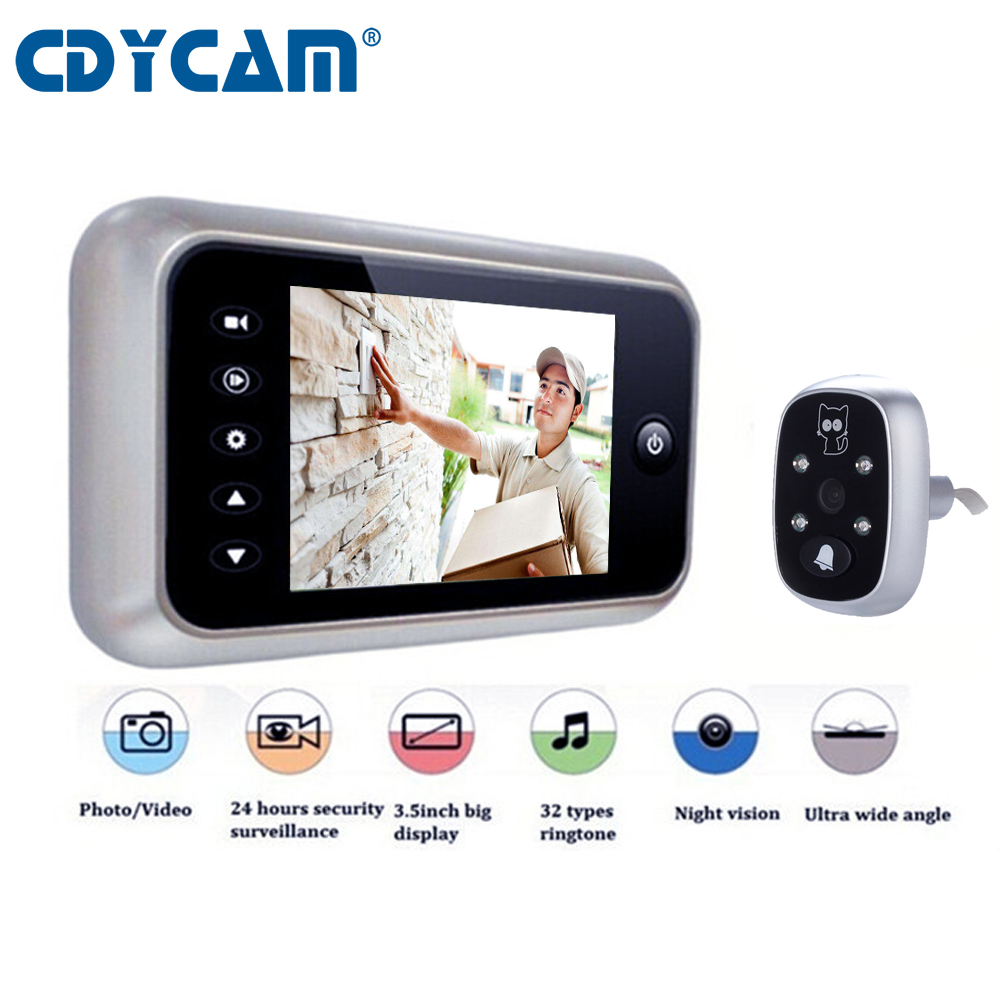 CDYCAM 3 5 LCD Color Screen Electronic Doorbell Viewer IR Night Peephole Camera Photo Video Recording