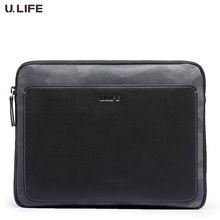U.LIFE – Brand Unique Personalized Fashion Camouflage Full Grain Cowskin Leather Man's Handbags Day Clutch Bag for 9.7″ iPad J35